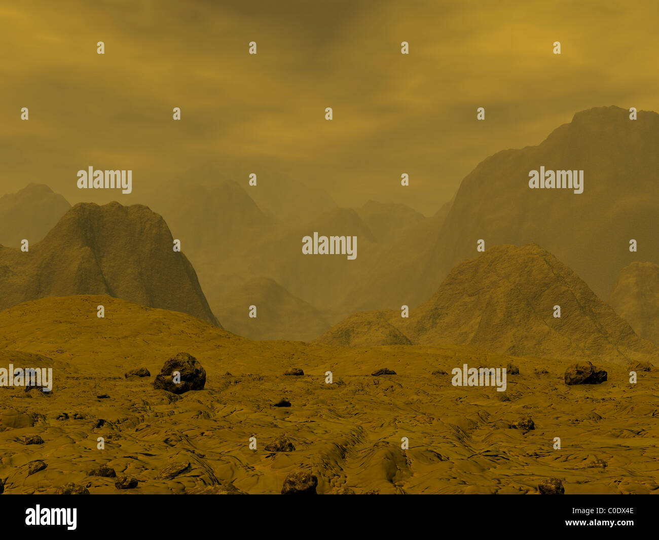Artist's concept of the surface of Venus. - Stock Image