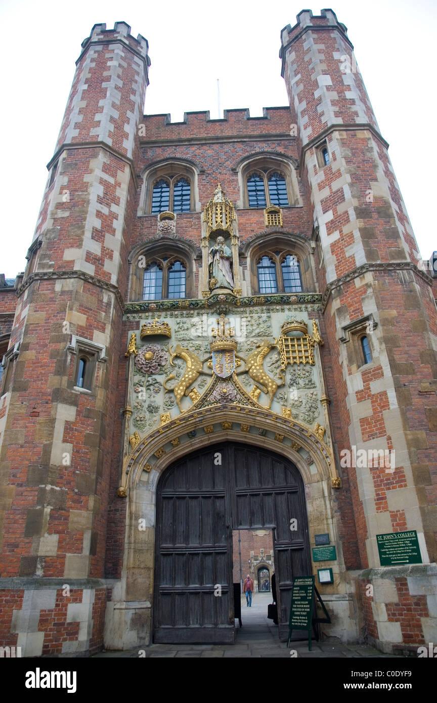St Johns College Gate in Cambridge Stock Photo