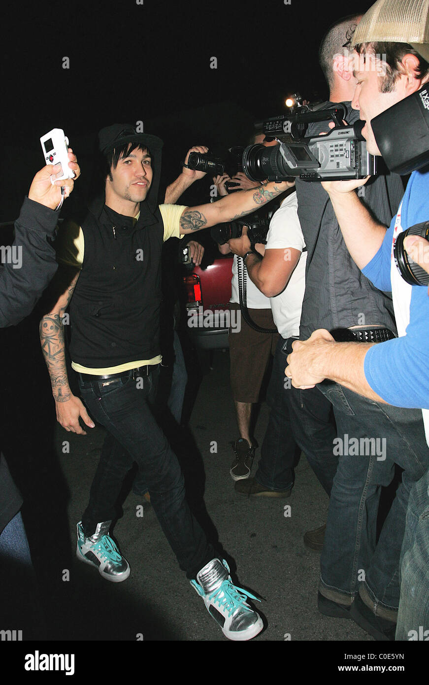 Pete Wentz Leaves Mr Chow restaurant via the back door while the rest of the band mates leave from the front door Hollywood  sc 1 st  Alamy & Pete Wentz Leaves Mr Chow restaurant via the back door while the ...