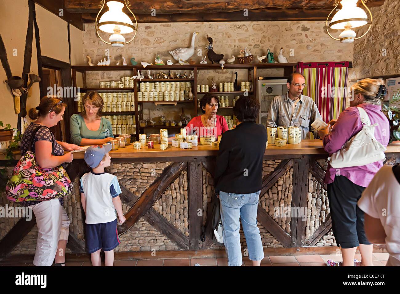 Farm shop selling foie gras Dordogne France - Stock Image