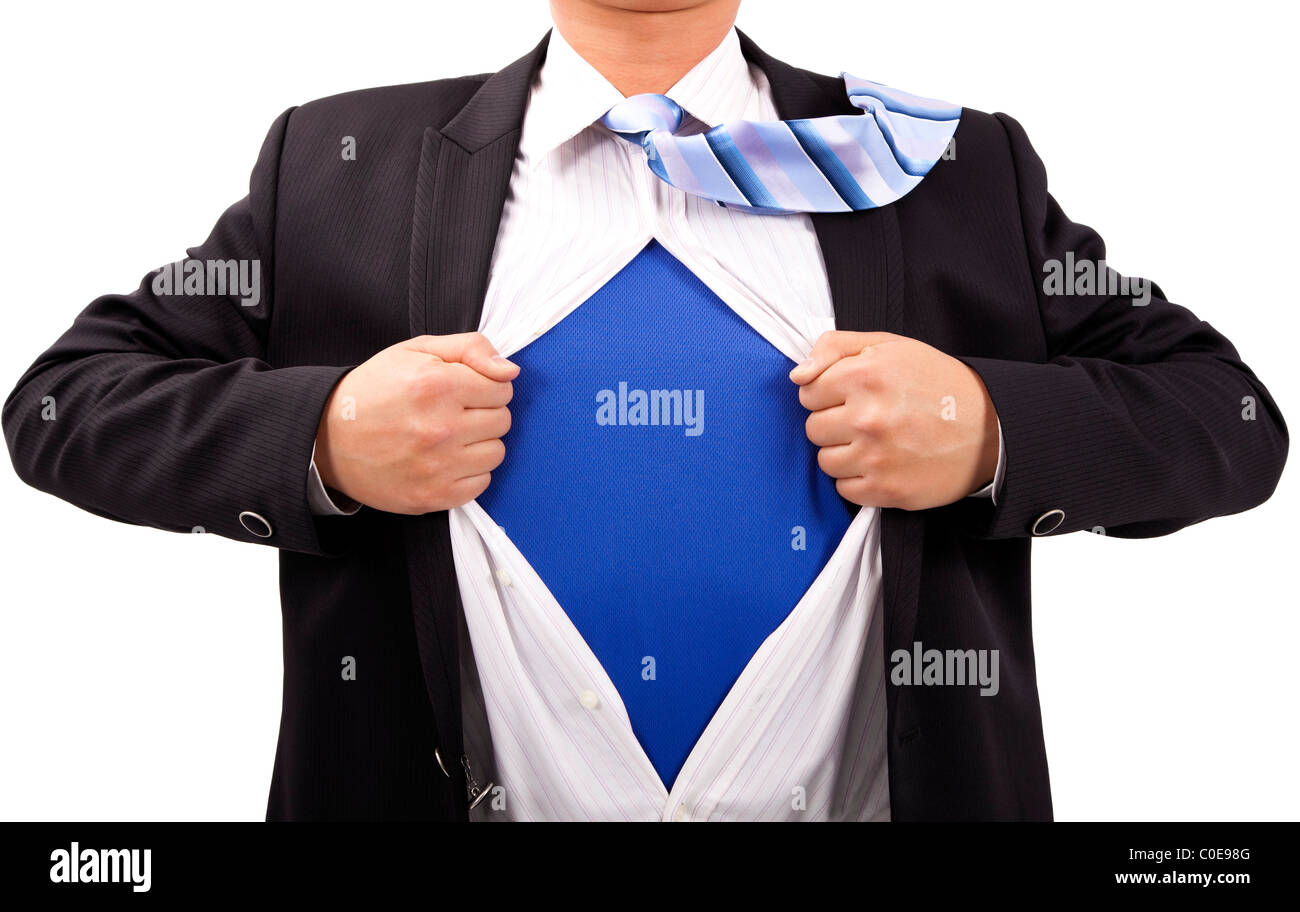 Businessman with courage and superman concept - Stock Image