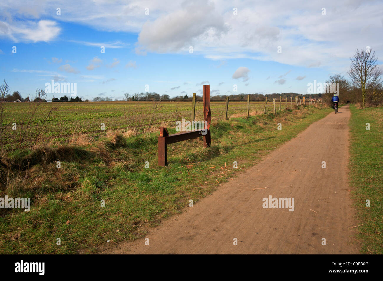 The Marriott's Way long distance footpath and cycle way in open countryside at Costessey, Norfolk, England, - Stock Image
