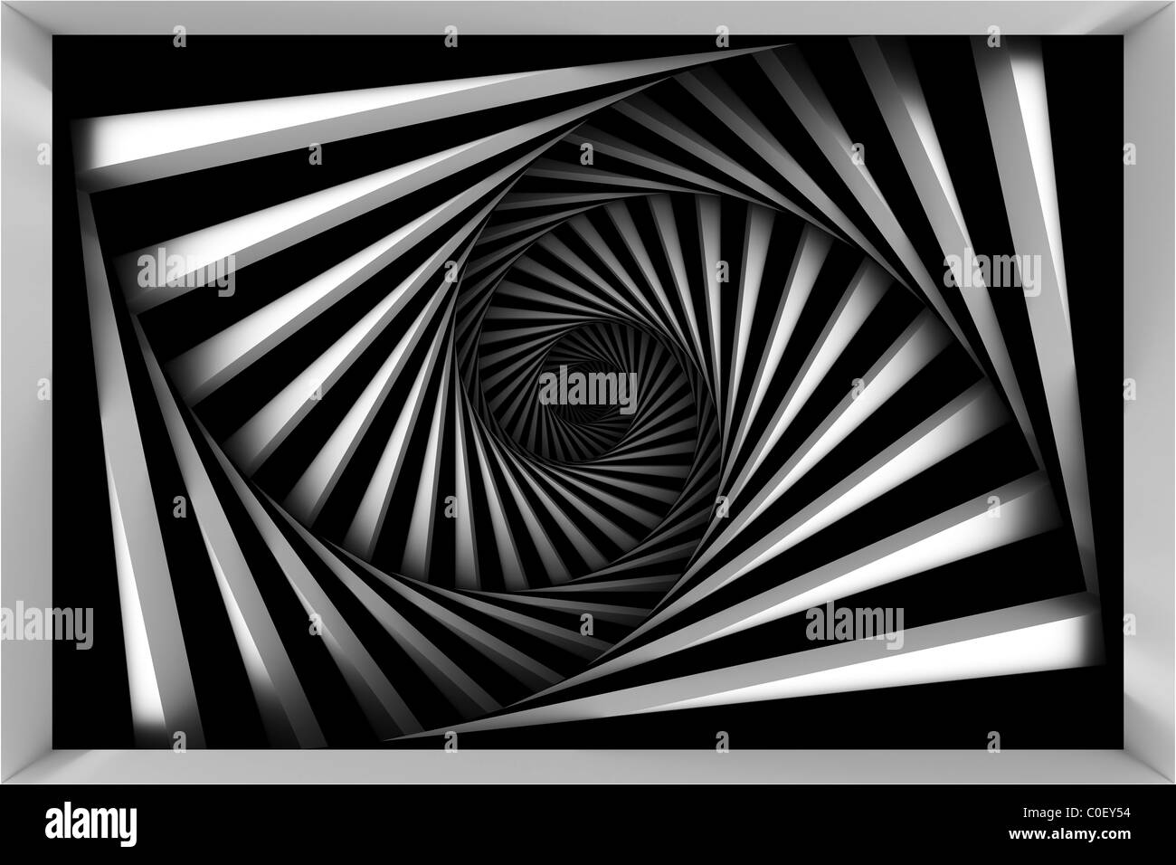 Black and white spiral - Stock Image