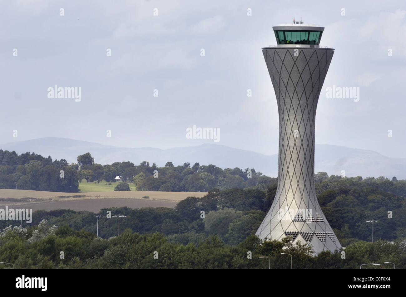 AIR TRAFFIC CONTROL TOWER, EDINBURGH AIRPORT, EDINBURGH, MID LOATHIAN, UNITED KINGDOM, Stock Photo