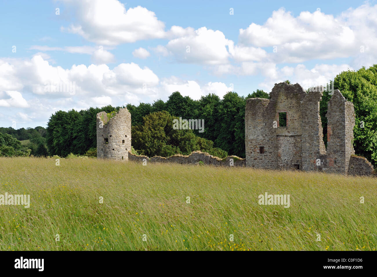 View of Crom castle ruins in summer time - Stock Image