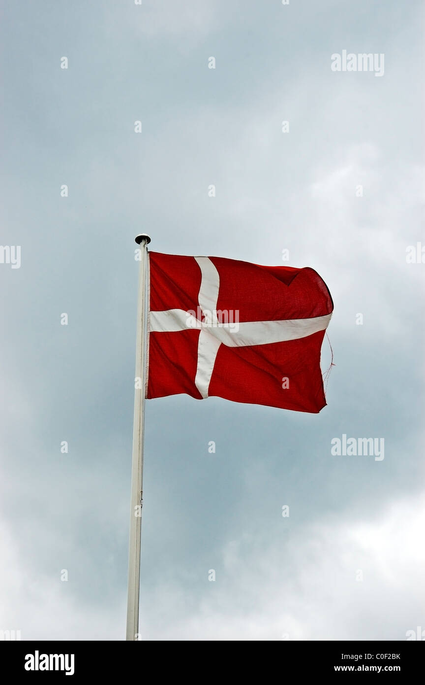 The Danish flag, Dannebrog, is believed to be the oldest state flag in the world still in use by an independent - Stock Image