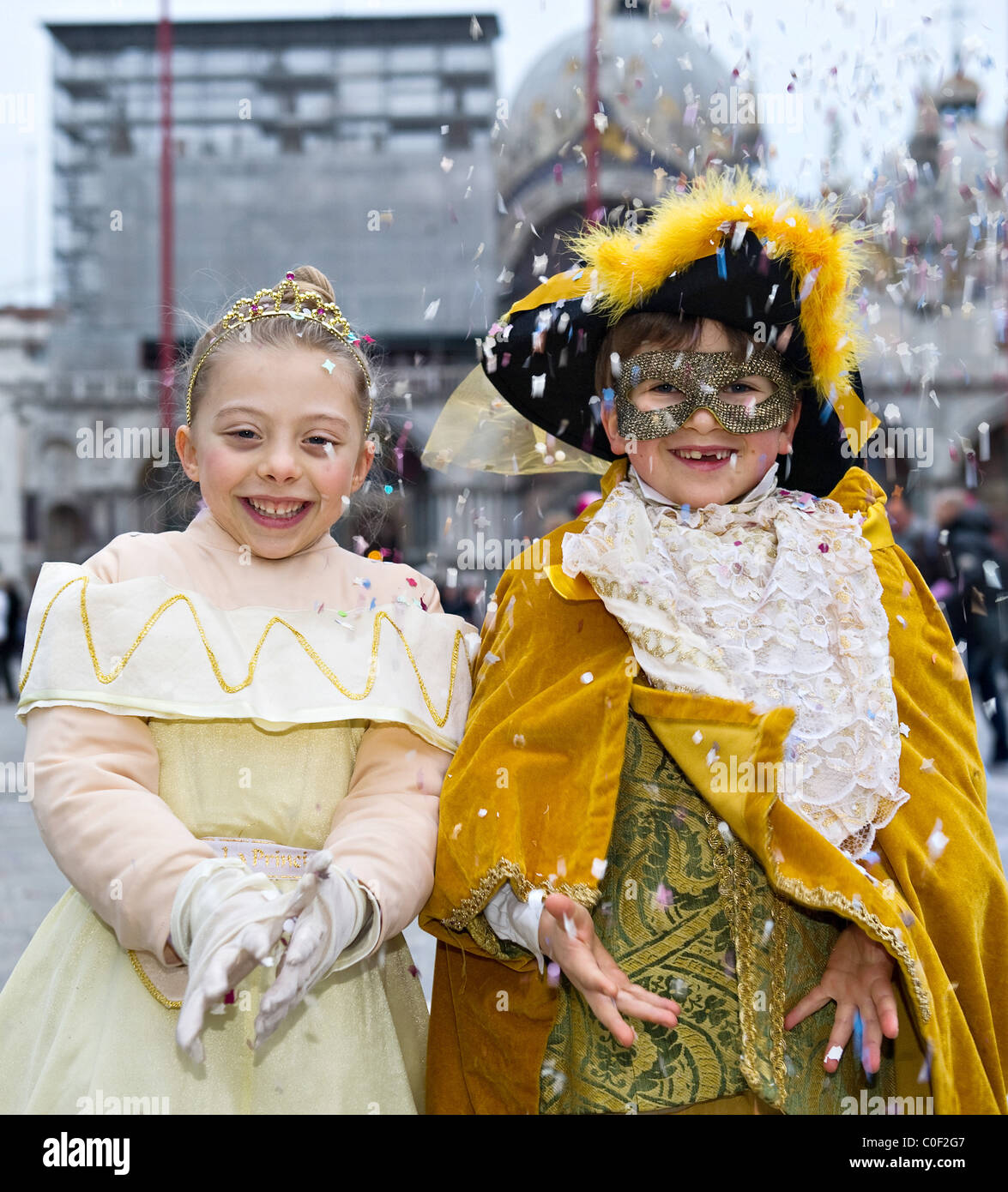 Two children wearing Carnival costumes in St Mark Square Venice Italy  sc 1 st  Alamy & Two children wearing Carnival costumes in St Mark Square Venice ...