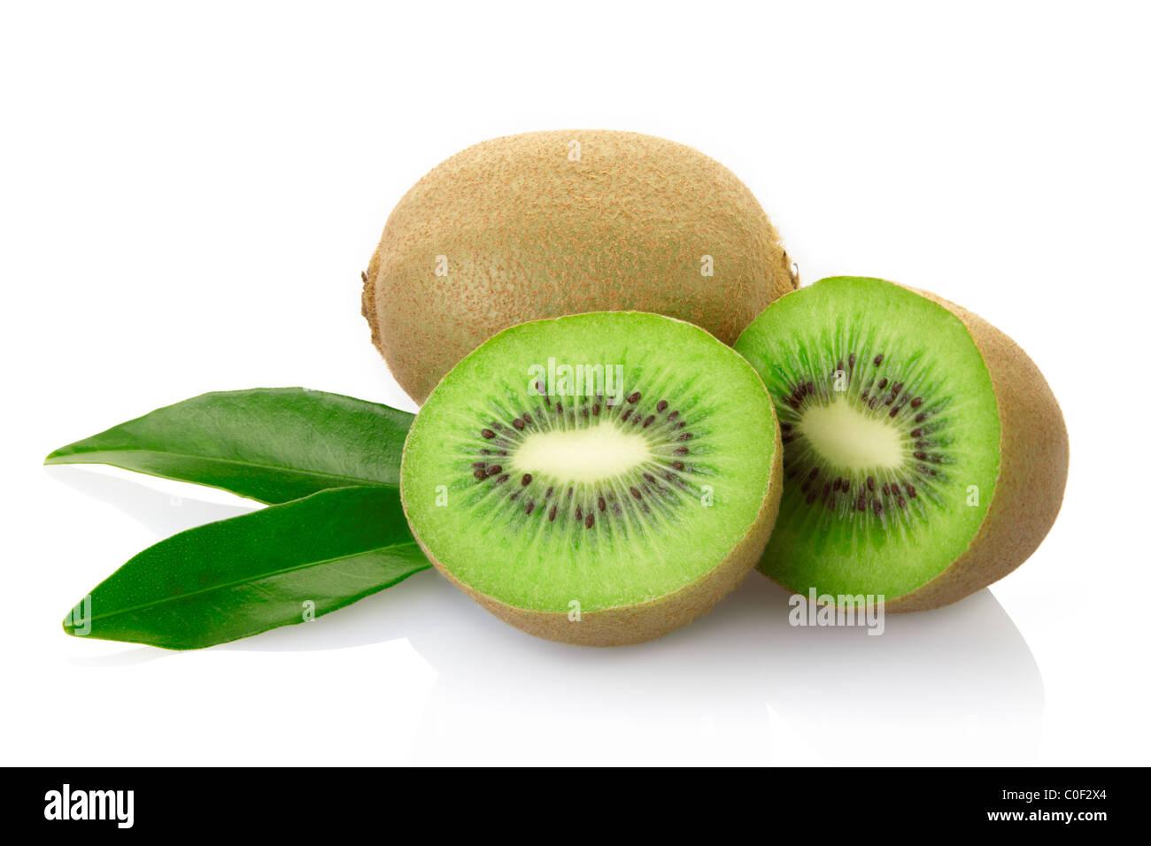 Kiwi fruit isolated on white - Stock Image
