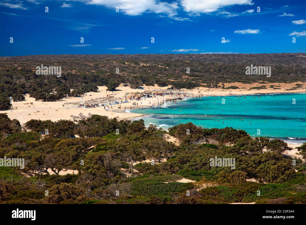 """""""Belegrina"""" or """"Golden"""" beach in Chrissi island, a tiny tropical paradise, 8 miles to the south of Ierapetra, Crete, Stock Photo"""