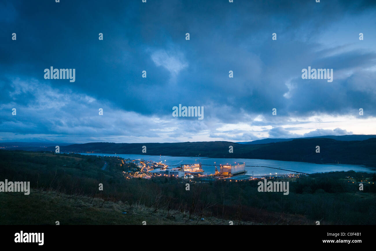 An early evening view of the home of the UK's nuclear submarines, Faslane Naval Base - Stock Image
