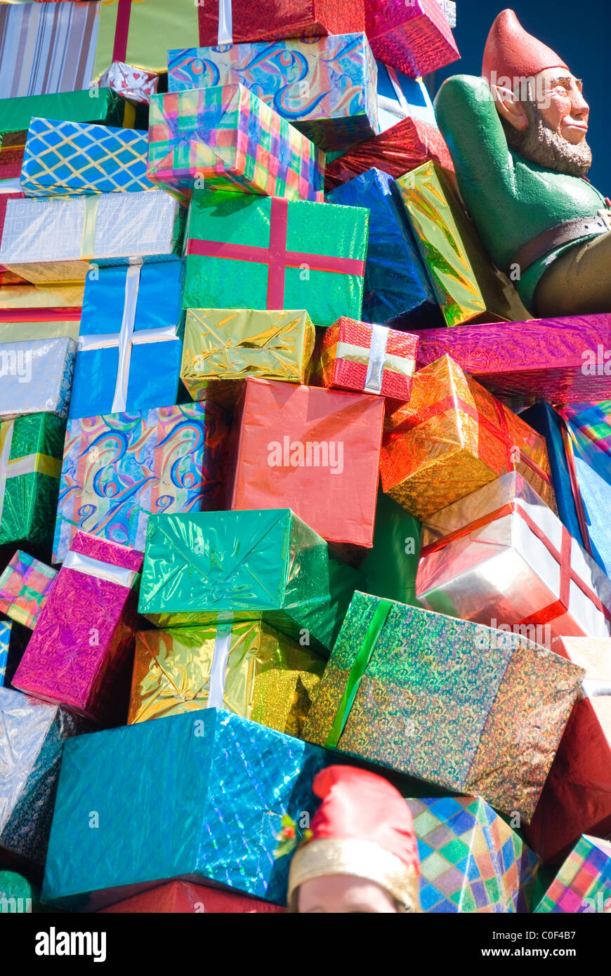 Colorful Christmas presents on the Toyville Trolley, Christmas Pageant, Adelaide, South Australia - Stock Image