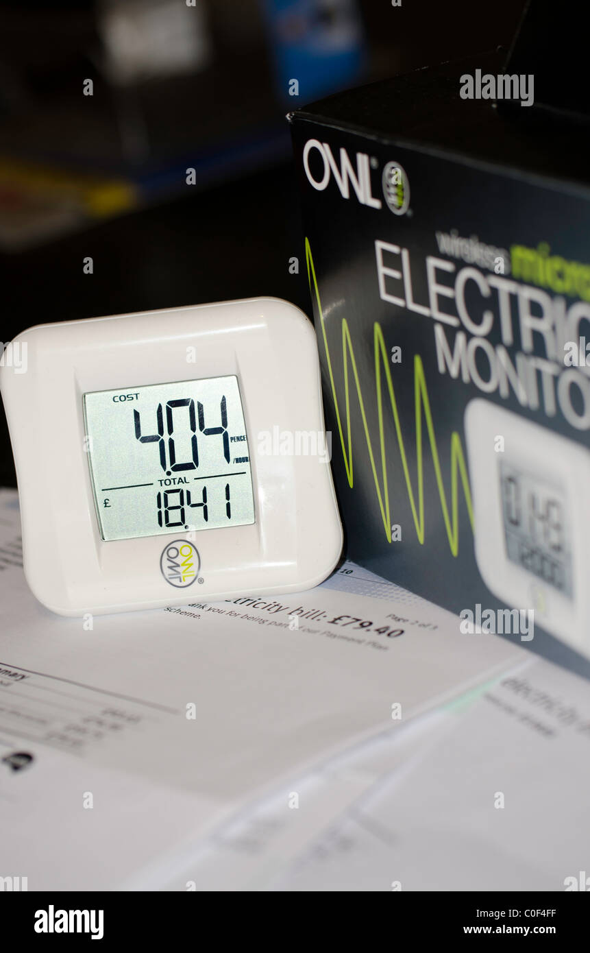 Owl electricity usage monitor, energy awareness - Stock Image