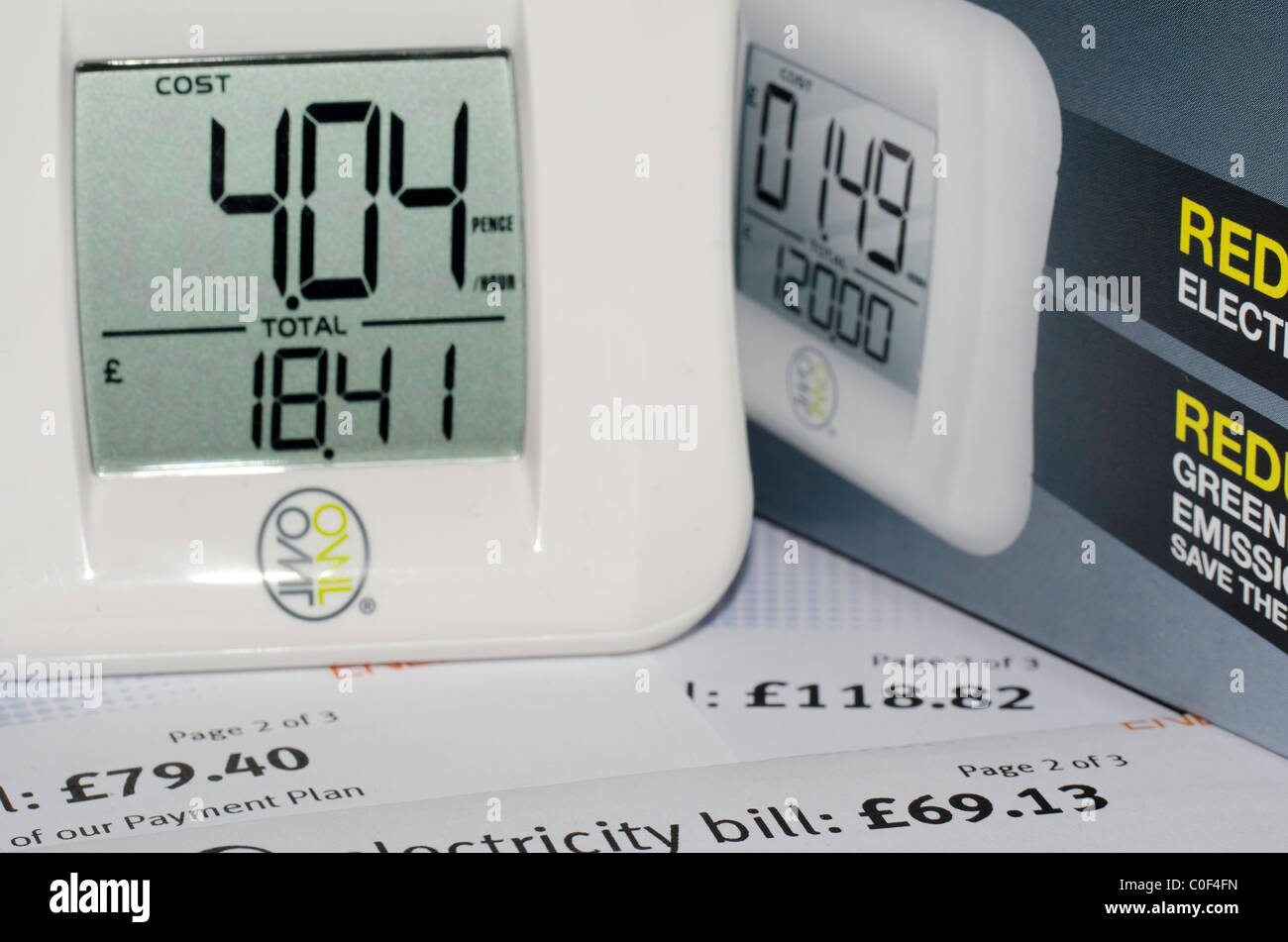 Owl electricity usage monitor, energy awareness Stock Photo