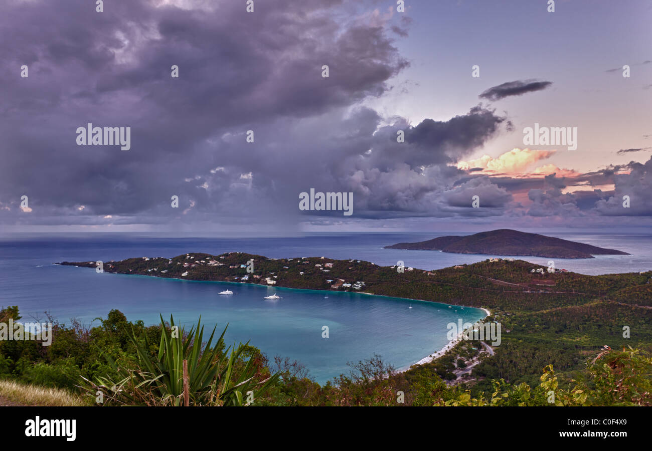 View of Magens Bay - the world famous beach on St Thomas in the US Virgin Islands Stock Photo