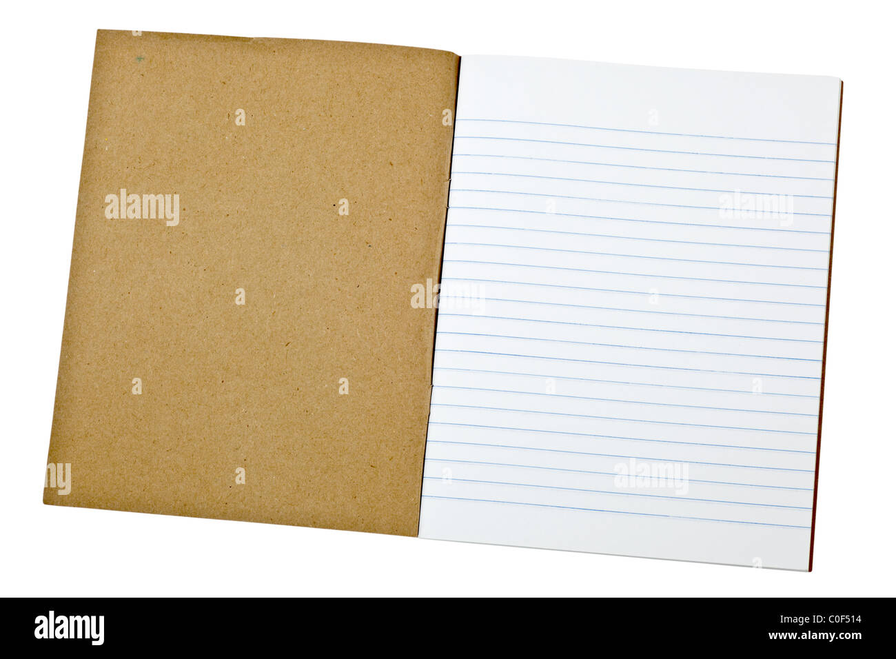 First page of a blank exercise book isolated on white background - Stock Image