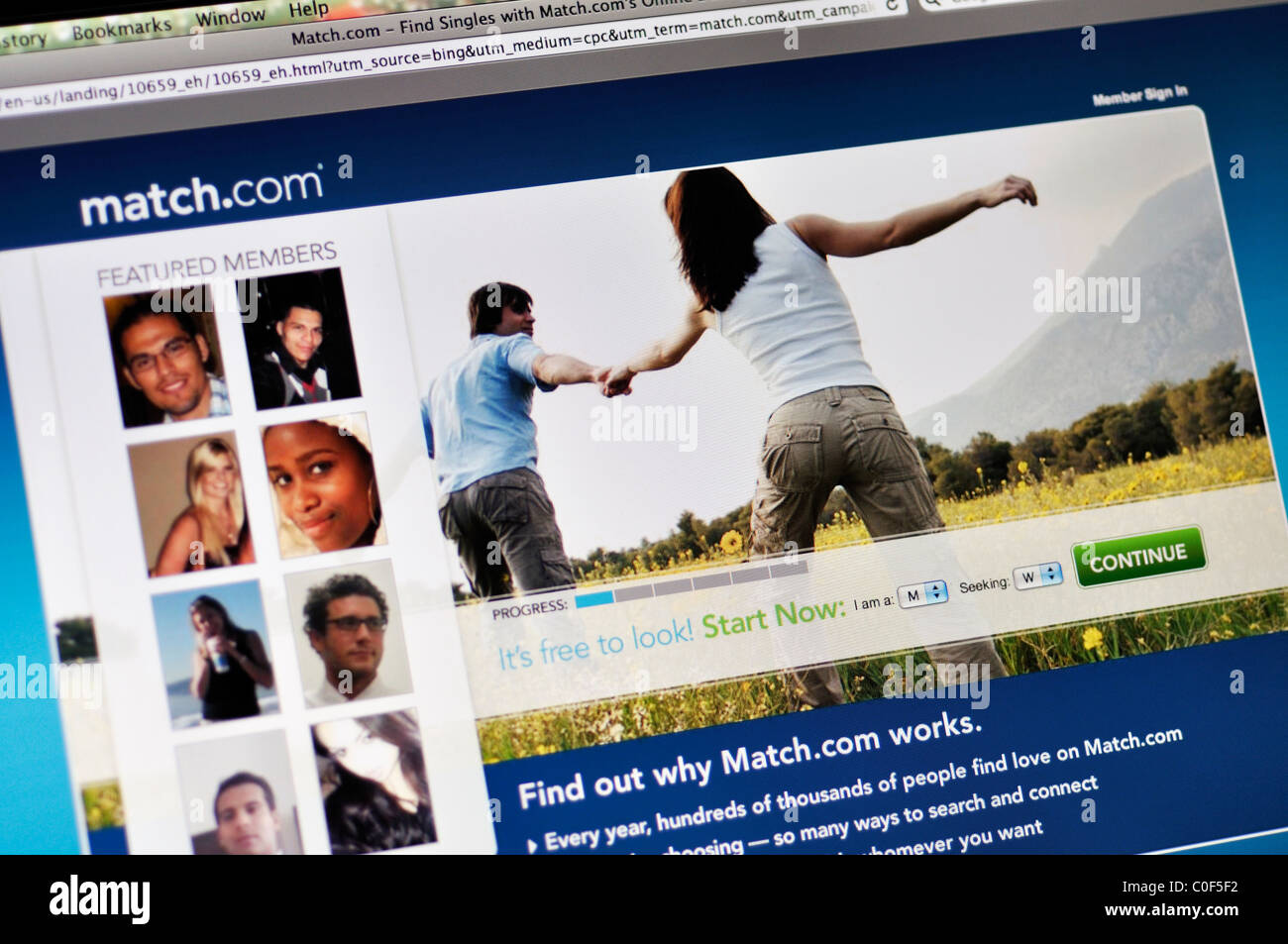 Match.com - online dating website - Stock Image
