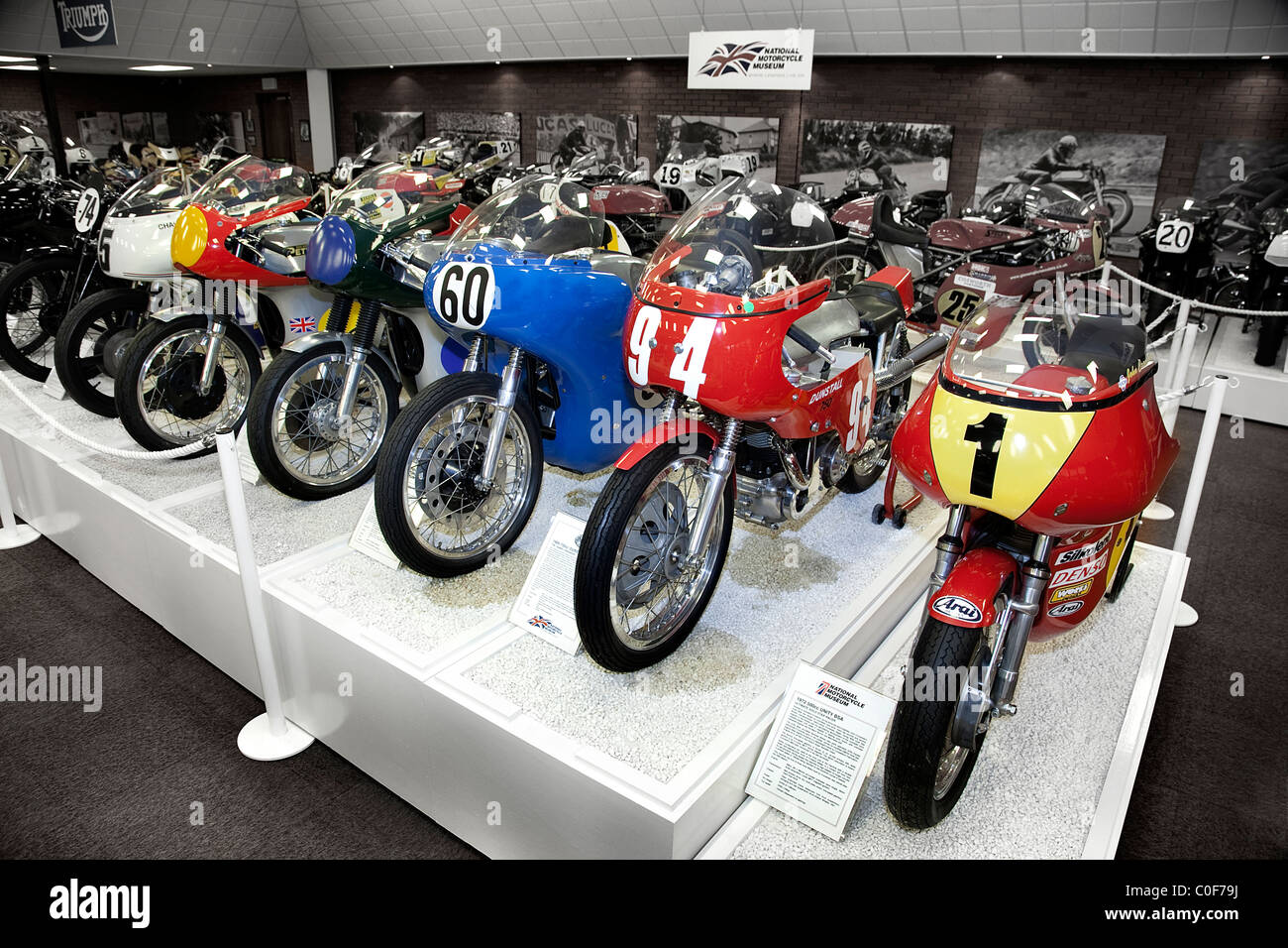 Racing Motorcycles at National Motorcycle Museum Birmingham UK - Stock Image