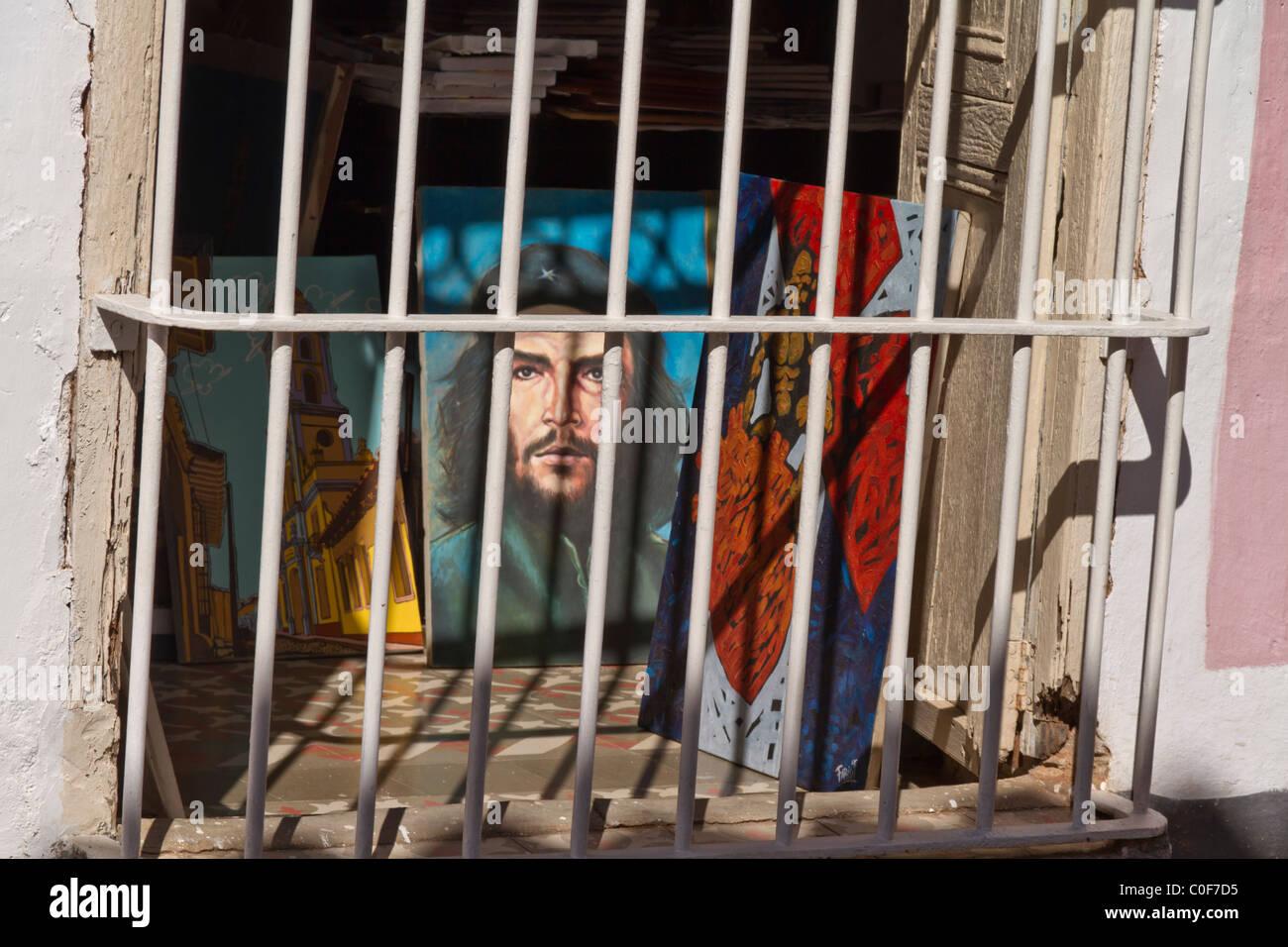 Cuban Art, Che Guevara Painting, Trinidad, Cuba - Stock Image