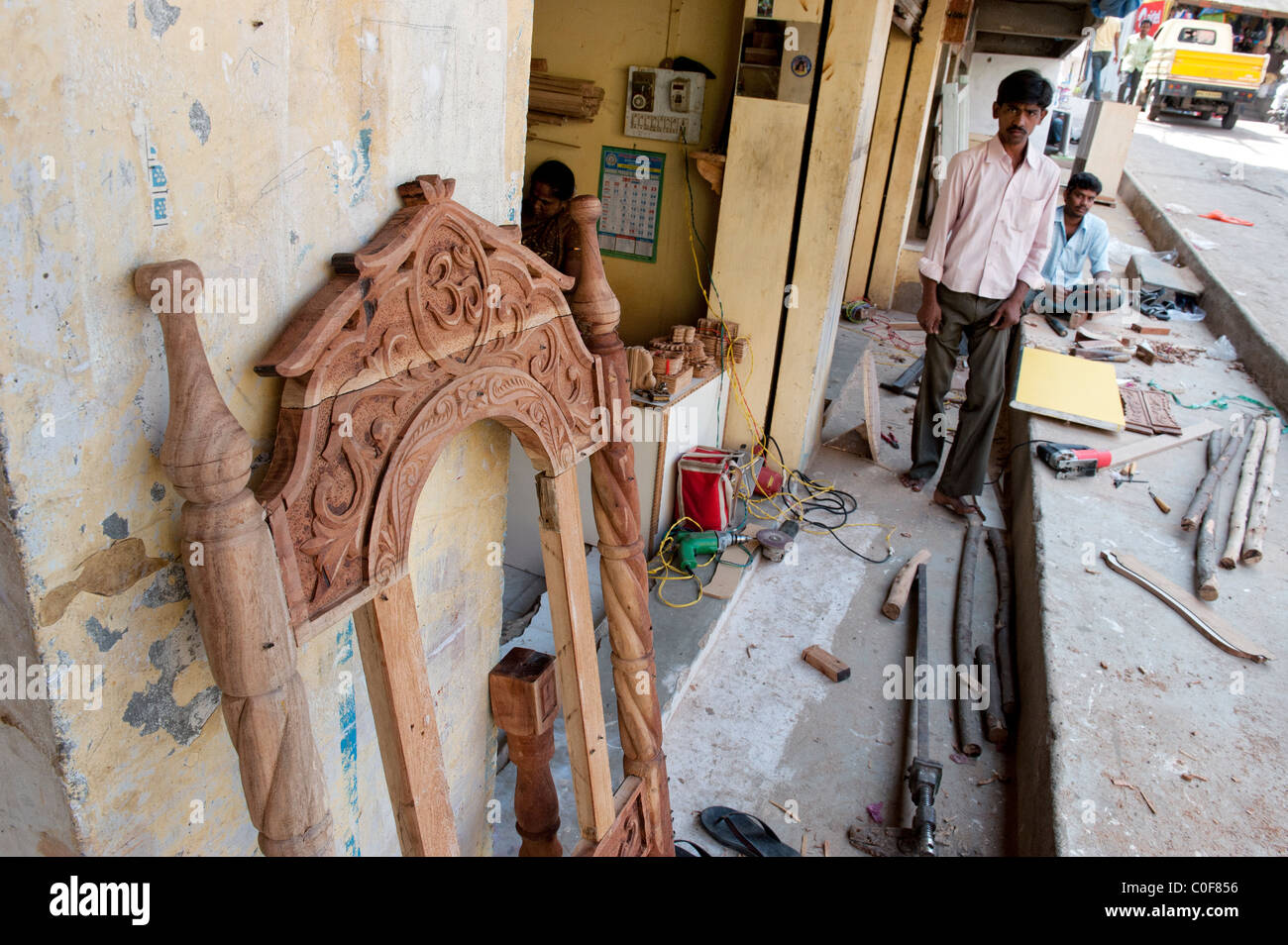 Indian wood working shop in Puttaparthi, Andhra Pradesh, India - Stock Image