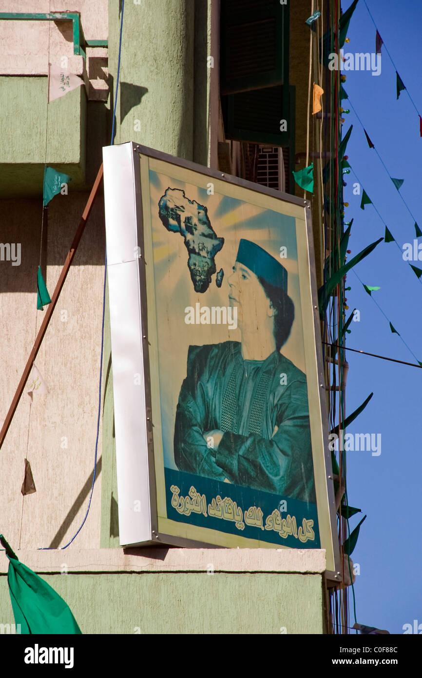Colonel Gaddafi Propaganda Poster. - Stock Image