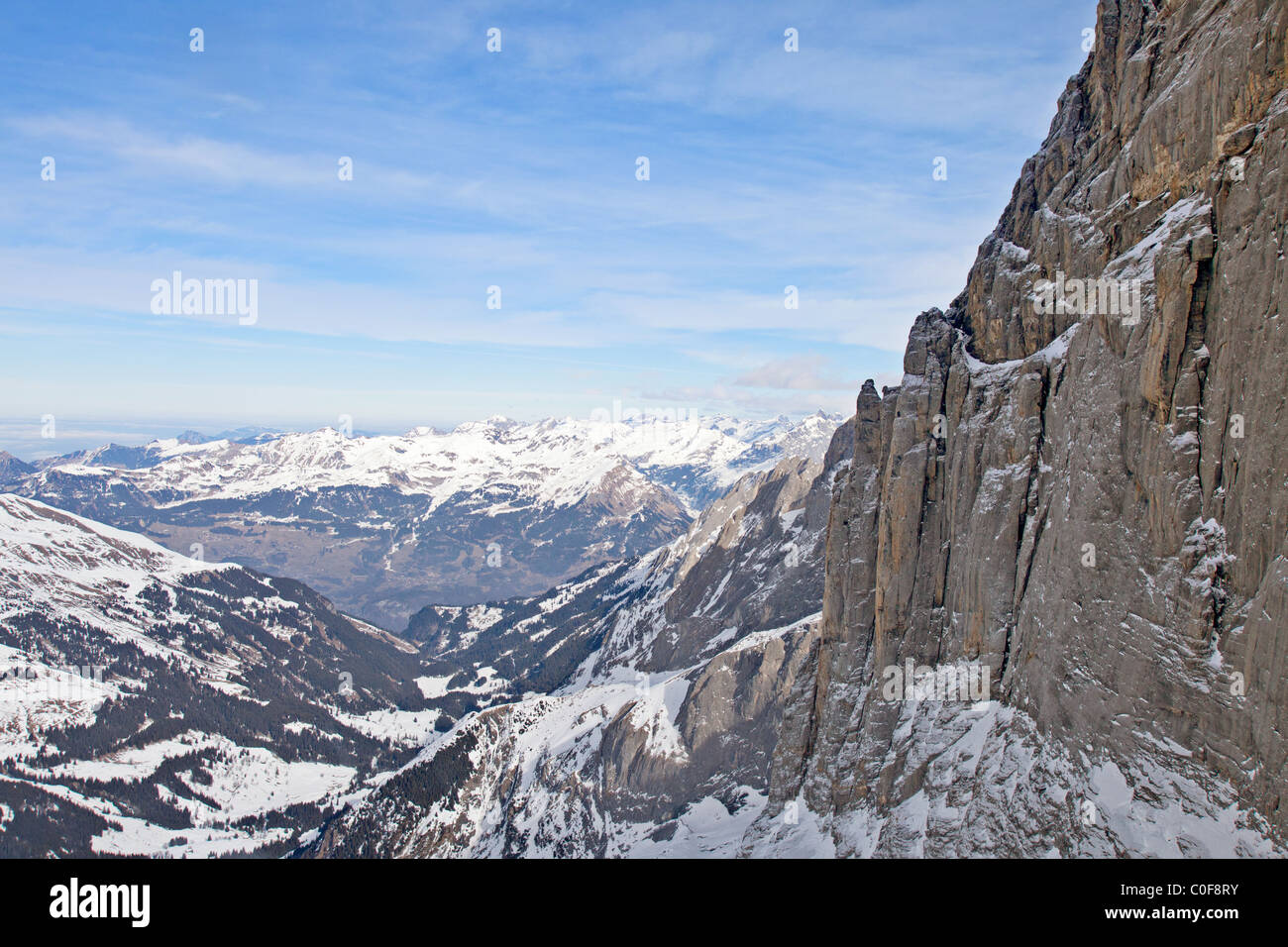 North face of Mt Eiger (R) seen from a helicopter, Berner Oberland, Switzerland - Stock Image