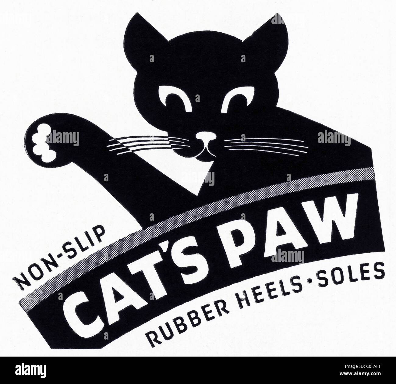 Advertisement in 1950s American magazine for non-slip CAT'S PAW rubber heels and soles - Stock Image
