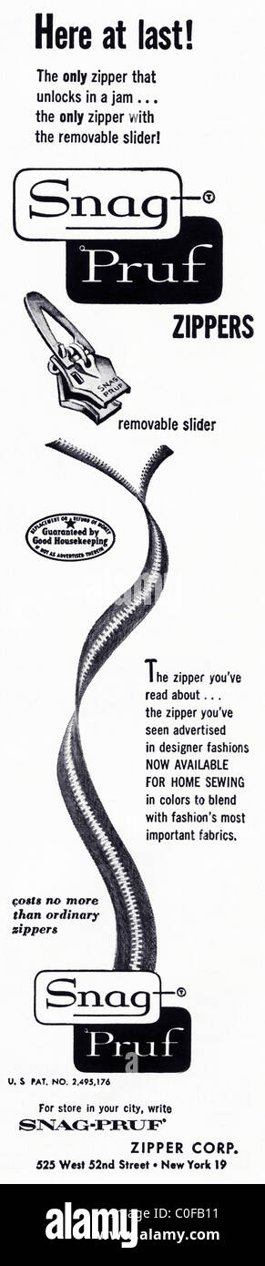 Advertisement in 1950s American magazine for SNAG PRUF ZIPPERS Stock Photo