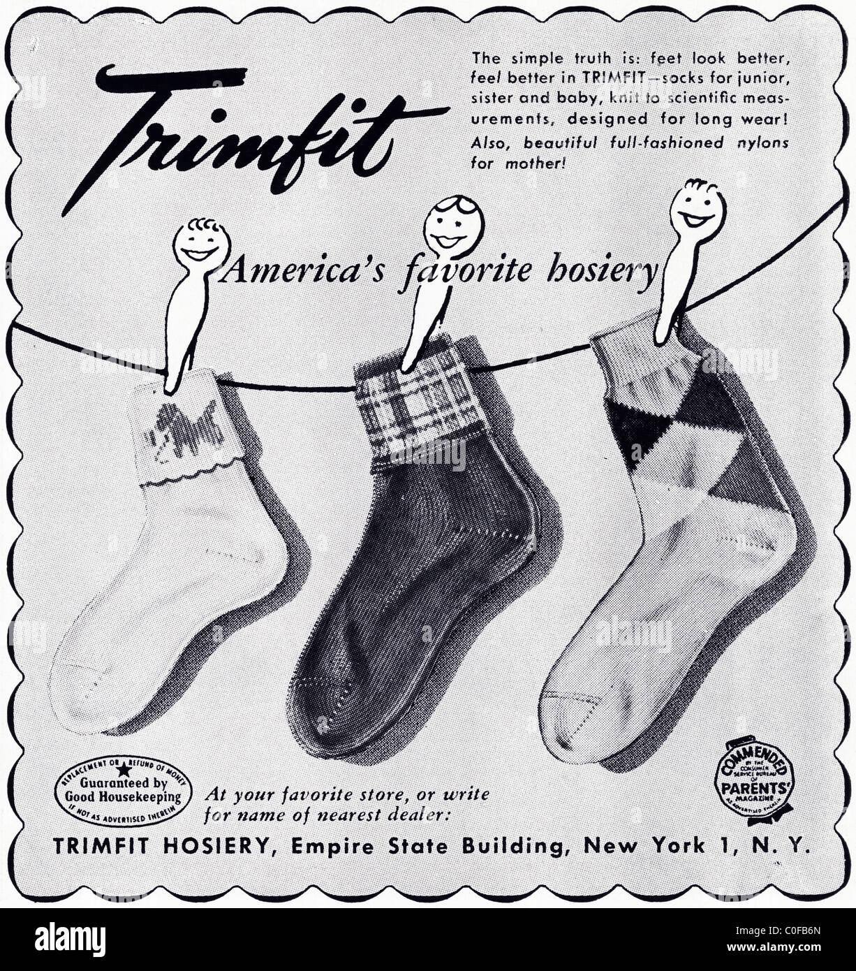 Advertisement in 1950s American magazine for children's TRIMFIT HOSIERY - Stock Image