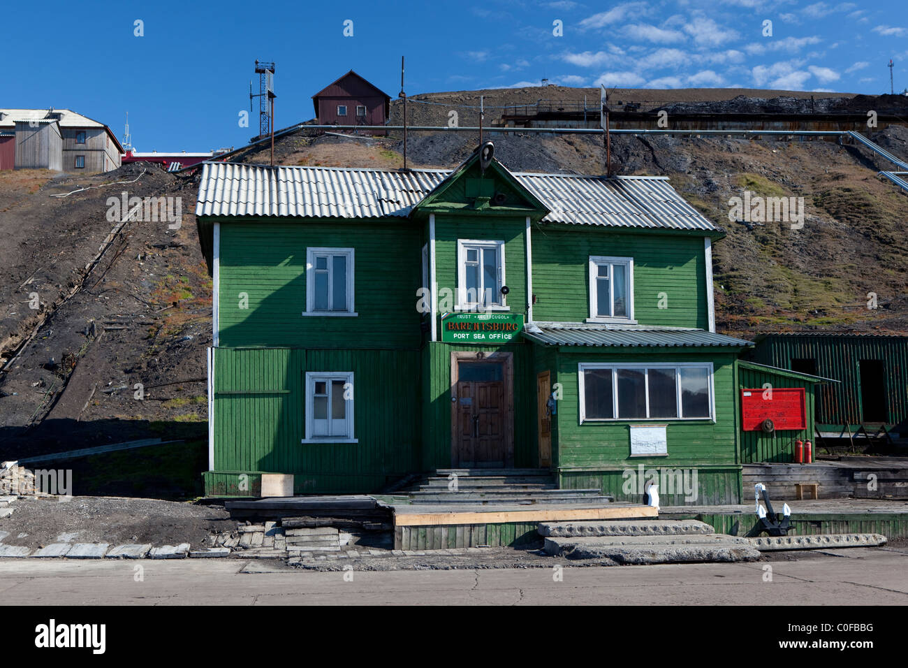 The Barentsburg port sea office building, a Russian coal mining town in the Norwegian Archipelego of Svalbard - Stock Image
