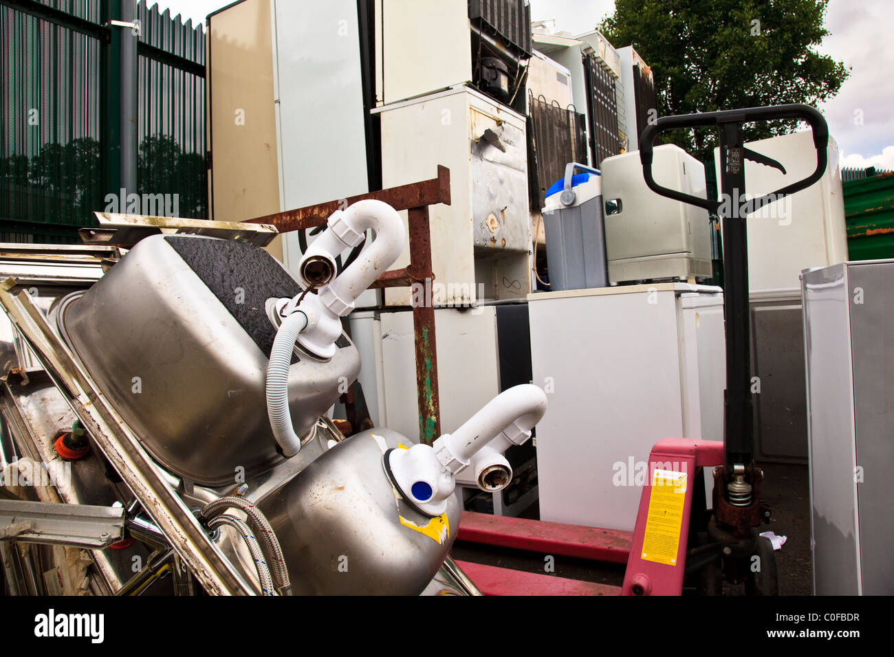 Recycling Kitchen sinks and White Goods Stock Photo