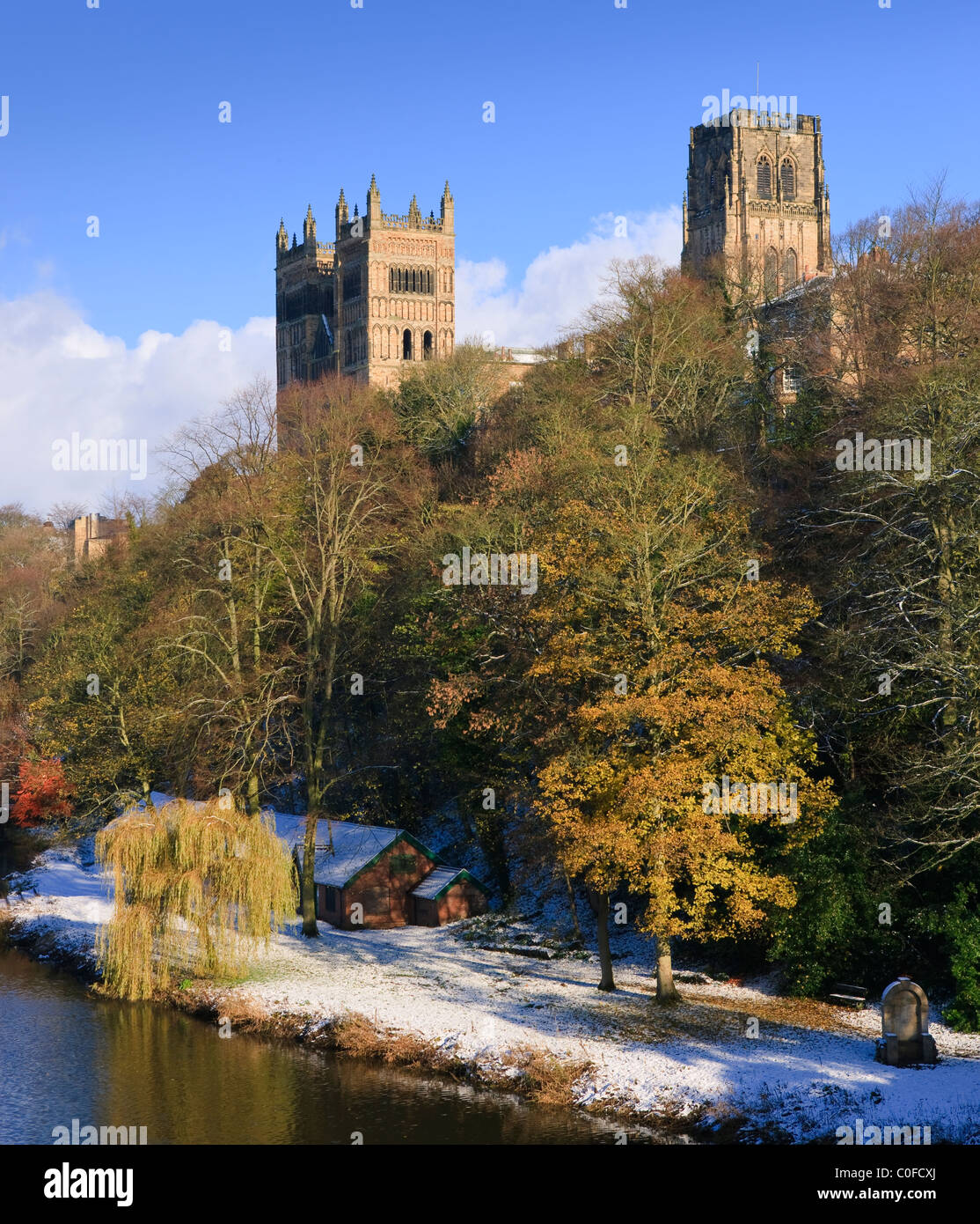 Durham Cathedral and River Wear Tyne and Wear England in winter - Stock Image