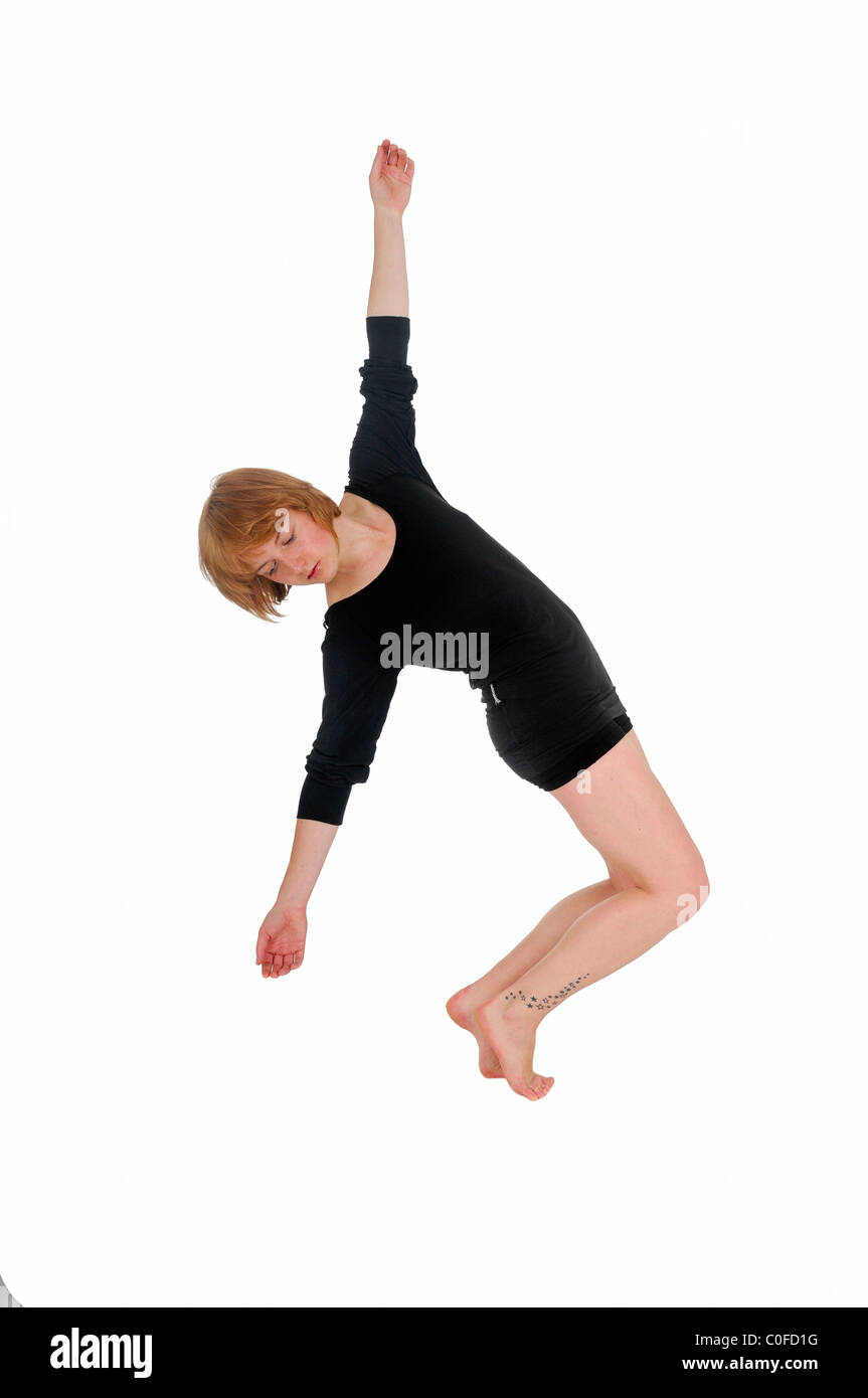 Female Contemporary Dancer On white Background - Stock Image