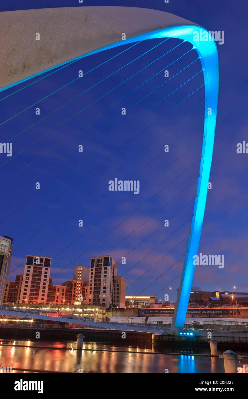 Millennium Bridge and the Baltic Arts Centre Gateshead Newcastle upon Tyne Northumberland England at twilight - Stock Image