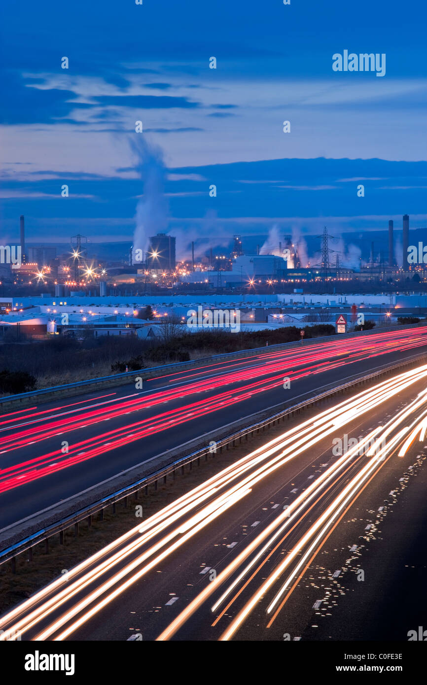 Motorway with Neath Port Talbot West Glamorgan Wales at twilight - Stock Image