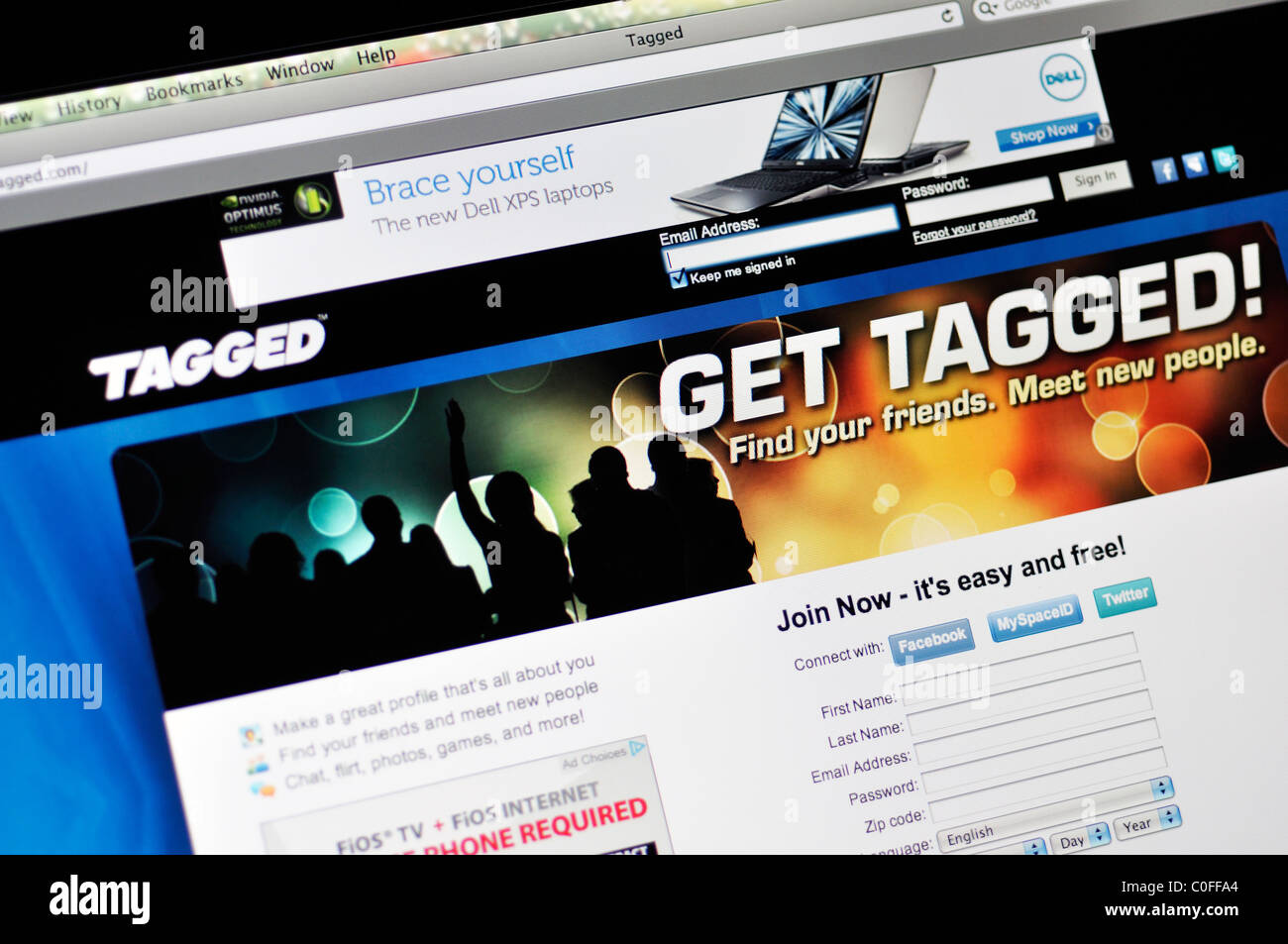 Tagged social networking website Stock Photo