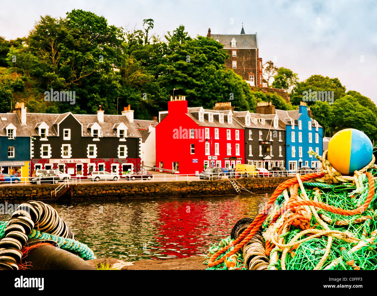 Tobermory, Isle of Mull, Waterfront at Harbour - Stock Image