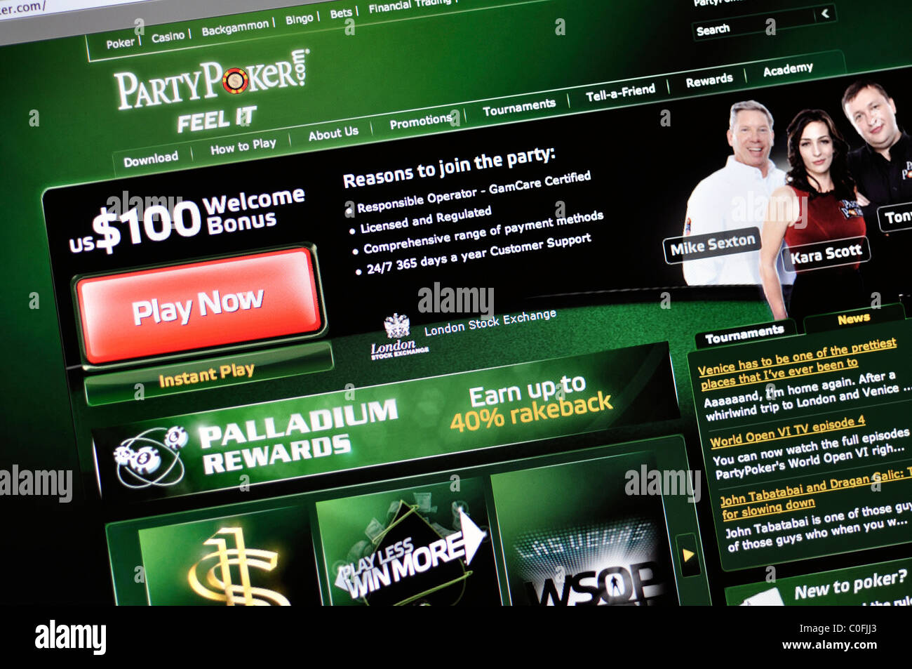 Party Poker website - Stock Image