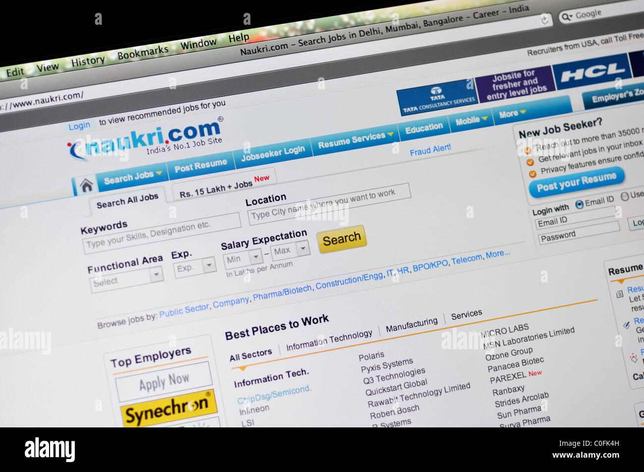 Naukri - Indian job search website Stock Photo: 34765041 - Alamy