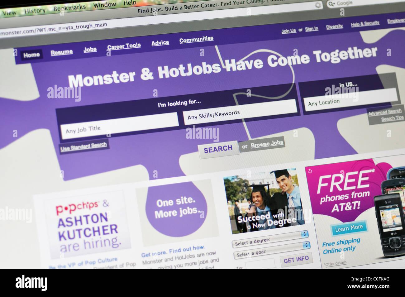 Monster job search website - Stock Image