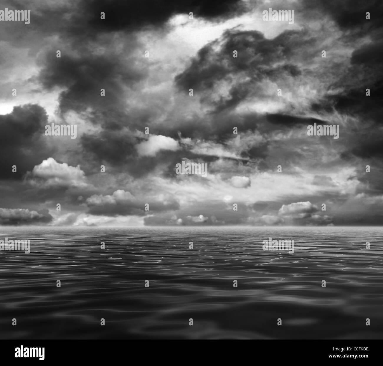 Dark sea and sky - Stock Image