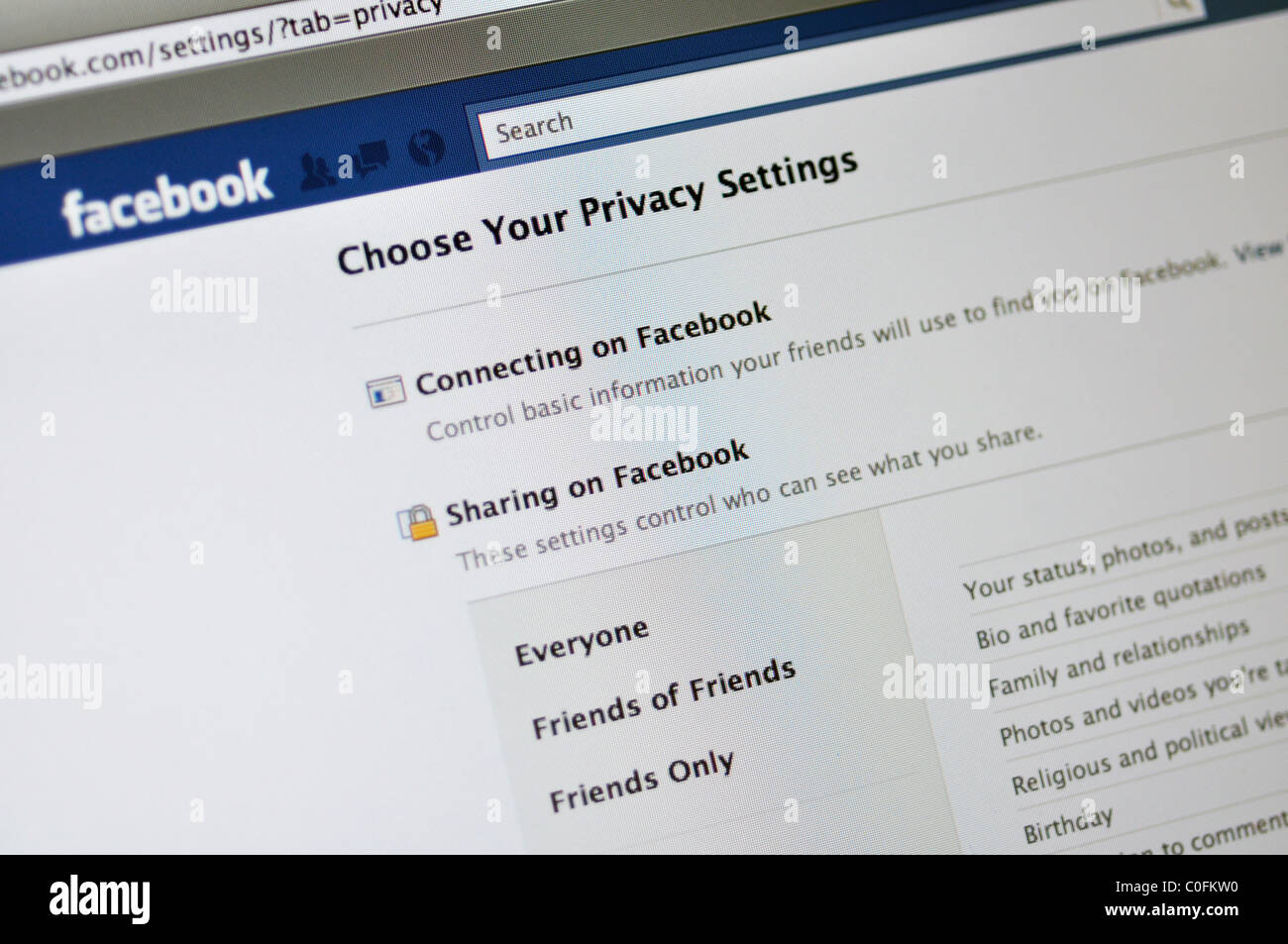 Facebook privacy settiings website - Stock Image