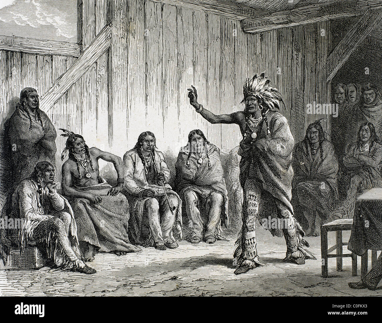 The Grand Council of the Ravens at Fort Laramie. Engraving by Guachard in 1881. USA. - Stock Image