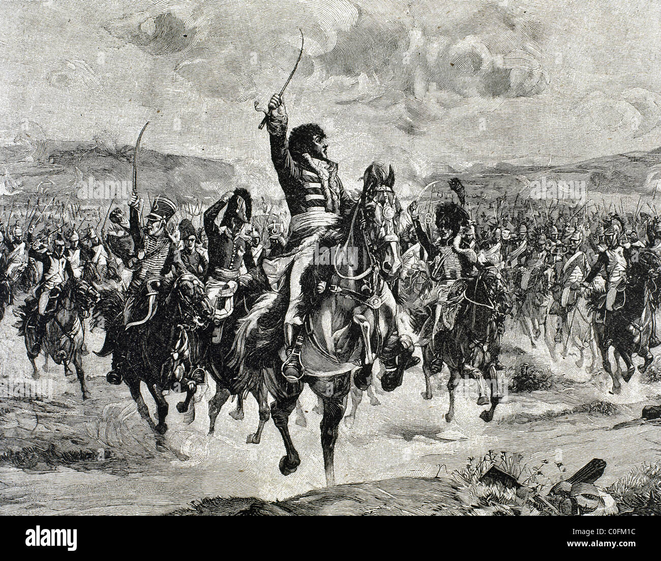 Marshal Murat leads a charge at the Battle of Jena, 14 October 1806. - Stock Image