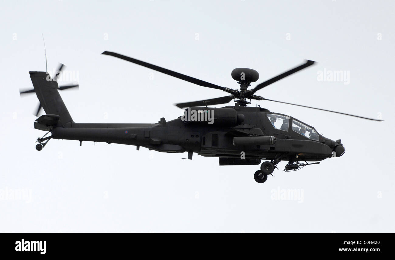 Apache attack helicopter in flight - Stock Image