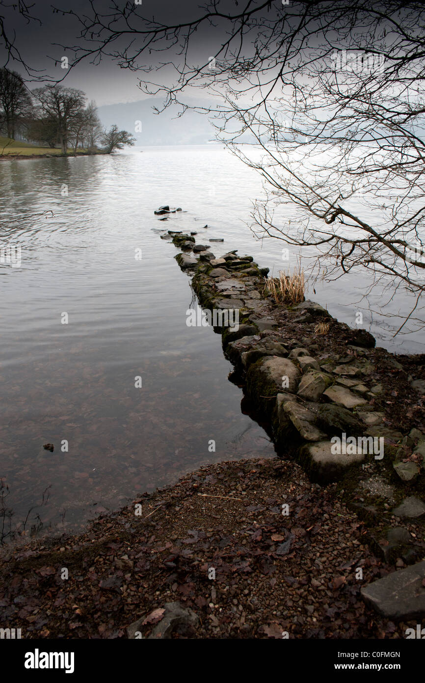 A February afternoon on the lake shore of Windermere, Cumbria,UK - Stock Image