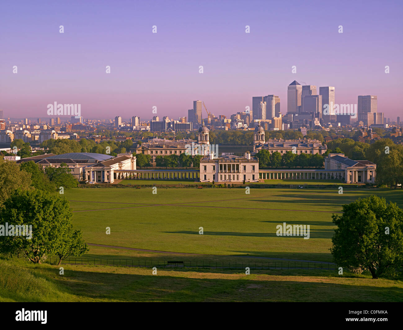 Early morning view of the city of London financial district from Greenwich Park - Stock Image