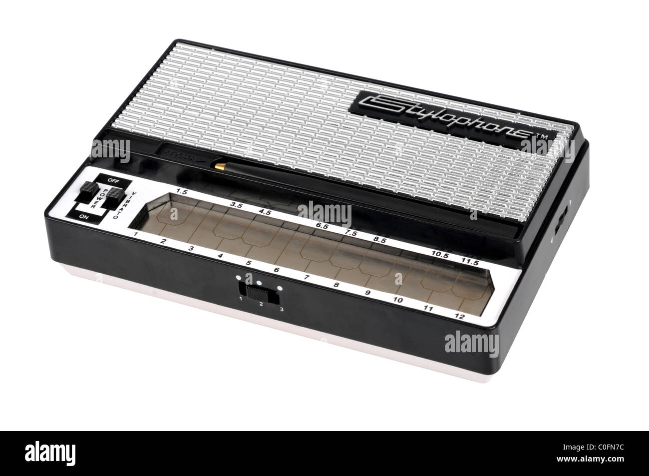 """Stylophone, musical instrument or synthesizer, Stylophone on a """"white background"""" - Stock Image"""