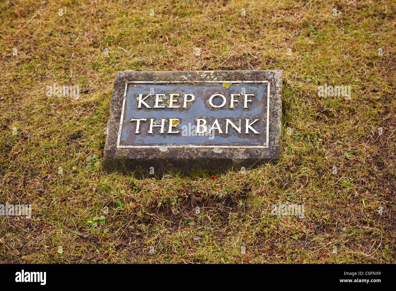 Sign on the bank beneath Cliffords Tower, York, Yorkshire, England, UK - Stock Image