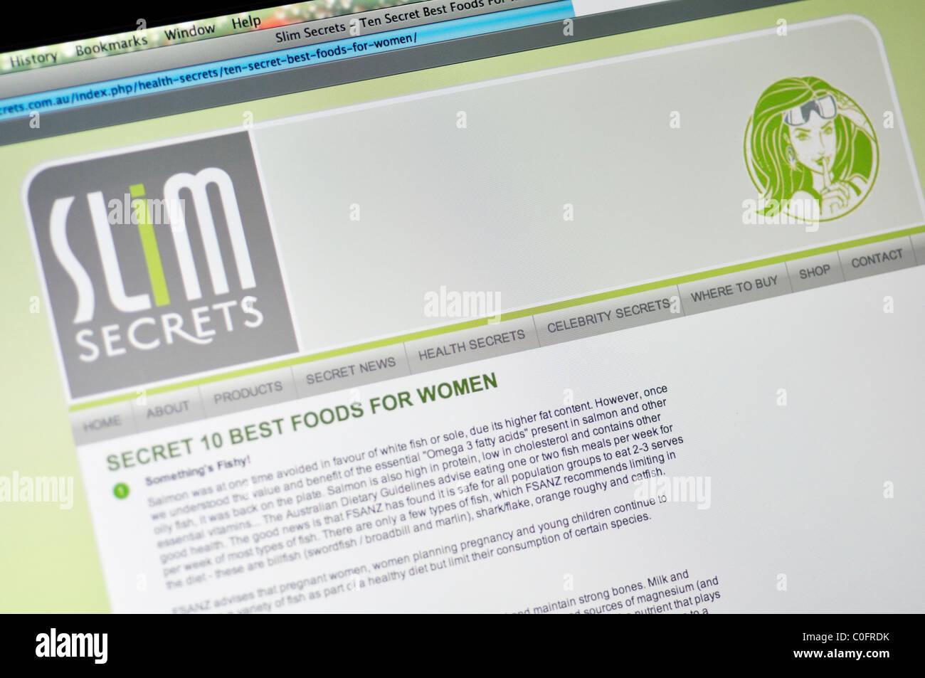 Slim Secrets website - Stock Image