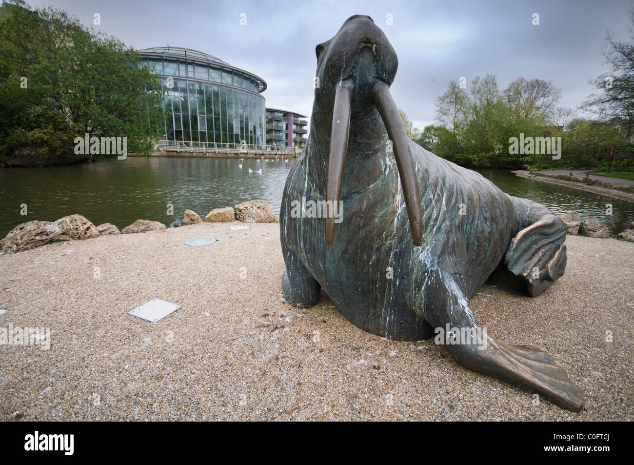 Statue of a walrus in Mowbray Park, an urban park in Sunderland - Stock Image